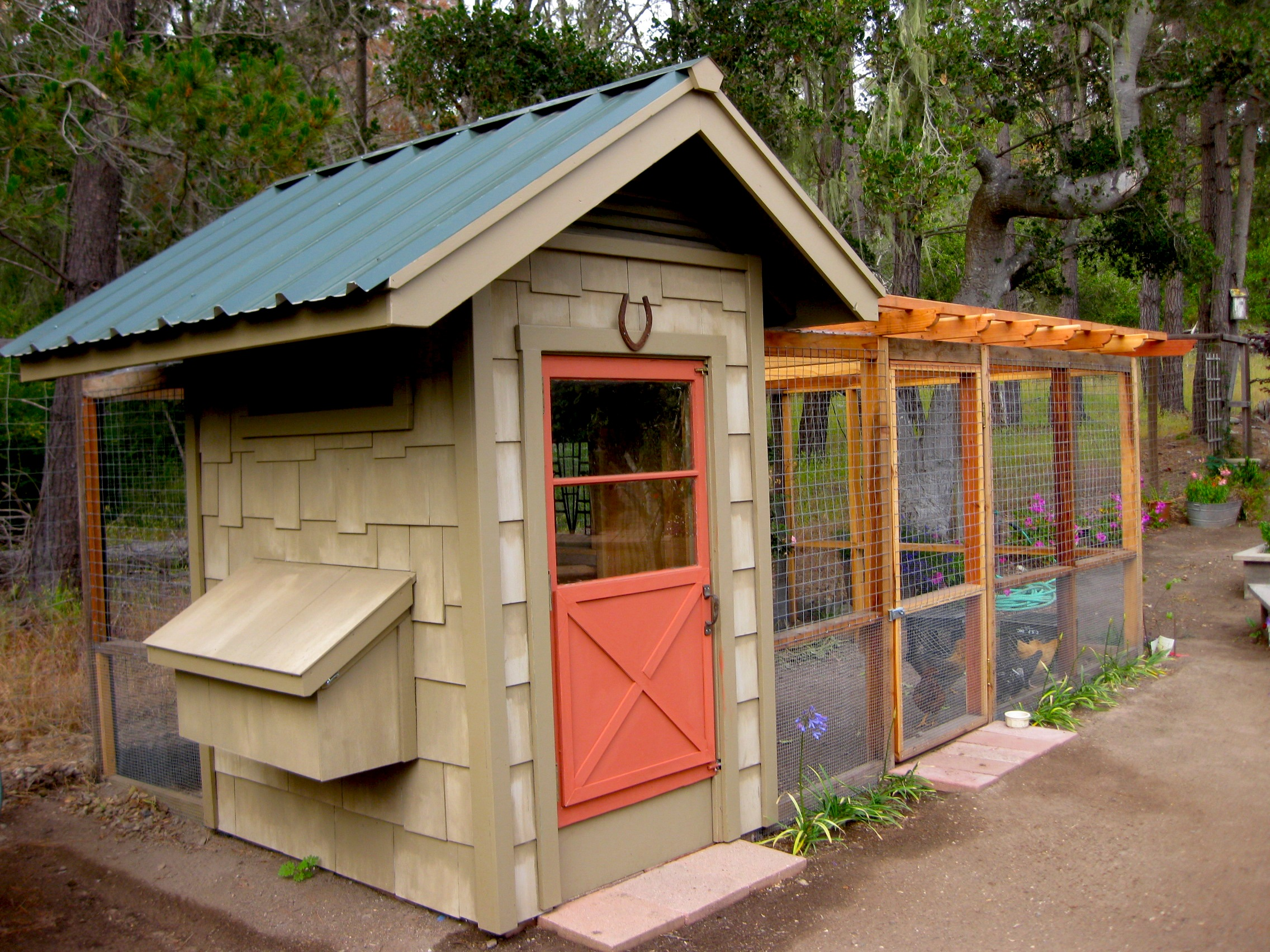 my husband built a chicken coop for our six young chickens that adds to my garden rather than detracts to save money we used recycled materials from the - Garden Sheds From Recycled Materials