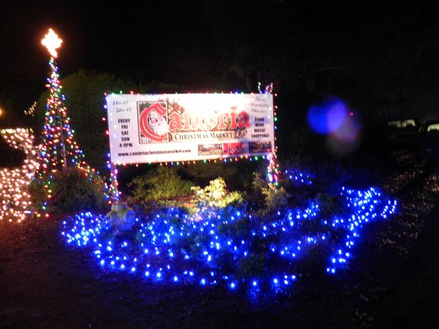 wander through lighted paths leading to the cambria christmas market