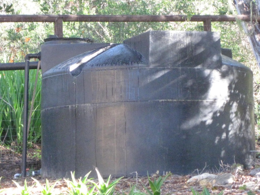 Our water tank holds 1600 gallons of rain water.