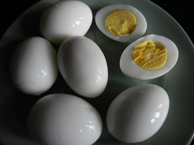Perfect hard-boiled fresh eggs. No green. Yolk is centered.