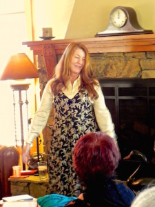 The plant doctor, Dr Heather Vallier, addressing The Cambria Garden Club