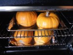 Bake pumpkins in the oven then scoop out contents.