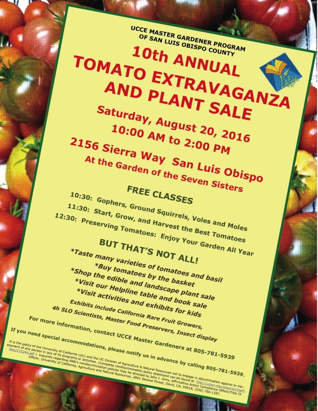 "Come to the ""Tomato Extravaganza"" and plant sale on Aug. 20, 2016."